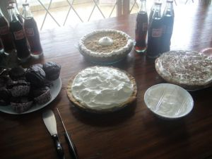 Since the original day for the party was 3.14, it was pie themed, but chaotic schedules had it moved to St. Patty's Day, but keeping the pie theme, of course.
