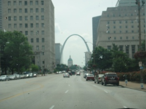 St. Louis through our dirty windshield