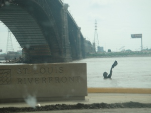 St. Louis wins the prize for weirdest monument placement...