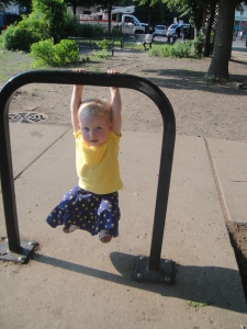 Amelia shows off her strength at a park in Chicago.