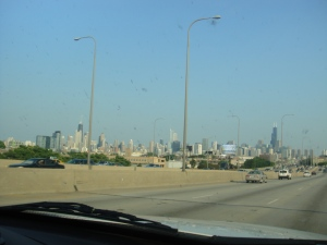 Chicago skyline through our dirty windshield...