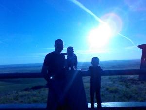 Surveying the Oregon farmland at sunset