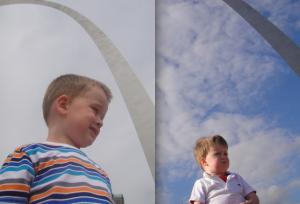 Levi in St. Louis - 18 months apart...