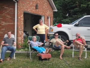 Matthew, Grandma, Aunt Gloria, cousin Allison, and Uncle Bill watch the kids antics...