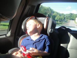 Fitting in a quick nap on the drive