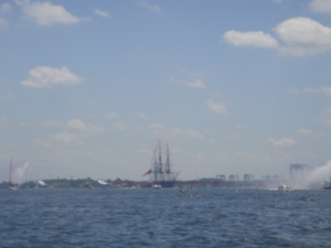 The USS Constitution was out on the water - this is a zoomed in pic, hence the fuzziness