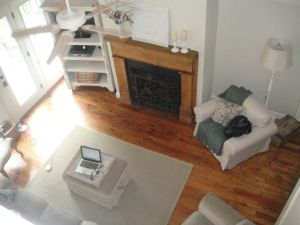 Looking down from the loft into the gorgeous living room