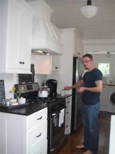 Kitchen and Matthew, making coffee