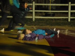Then they were both laying down and bouncing.  How they didn't get stepped on, I have no idea...