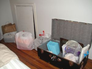 Supplies - the bags contain extra sheets, towels, baby stuff...