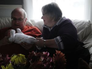 Grandpa and Grandma (Lisa's parents) checking out Axel