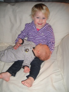 "Amelia loves her little brother!  She calls him ""My Axel"""