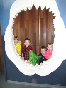 The classic shark mouth picture is a must at the Pt. Defiance Zoo & Aquarium