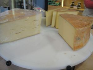 One of our very favorite cheeses, Beaufort is made in a town not too far from here.  The Beaufort été is better than the Beaufort (it is aged) - think a sharp cheddar/parmesan, but better...