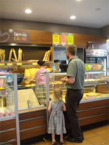 One of our two favorite boulangeries (bakeries), La Mie Calline.  We probably buy from them three to four times each week.