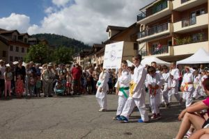 The local sports clubs also gave demonstrations during the parade.  Here is the local judo club - Matthew has done judo for several years.