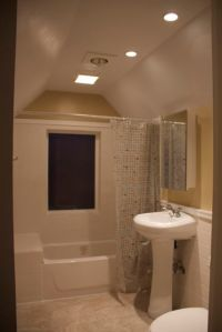 More master bath - except at night.  Matthew dropped the vaulted ceiling to make room for the lights, fan and heat lamp.