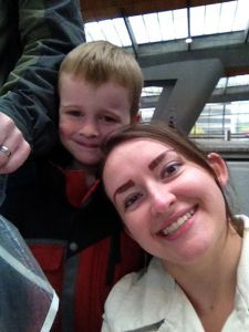 "Levi and I on the metro in Amsterdam - Levi loved the ""train!"""