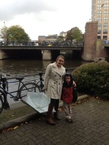Levi and I in Amsterdam…I promise he's happier than he looks!
