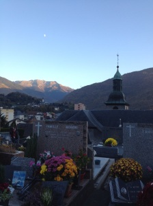 The moon, the Alps, the church...