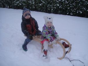 Last Saturday nearly two feet of snow fell in 24 hours...this was early in the day with the kids' Christmas present from Grandmom!