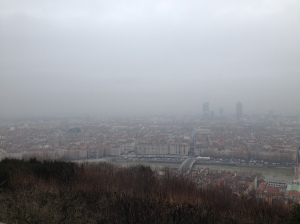 From the hill, the day begin fairly foggy