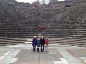 Four of the five ladies standing in the Roman amphitheater - we spent a long time playing with the incredible acoustics