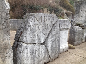There were over a hundred Roman stones like this one stored off to the side - perhaps they were signs announcing the different events at the two amphitheaters?