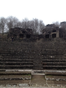 This smaller amphitheater was designed especially for music and speeches.  See a tiny Shannon at the top with white gloves?