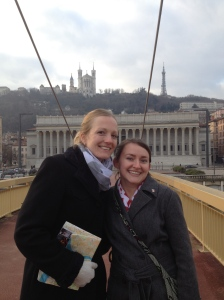 Shannon and I on the pedestrian bridge crossing the river - that cathedral on the hill had been our first stop of the day