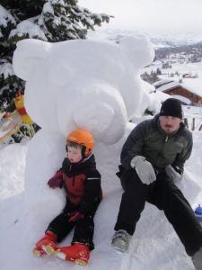Resting on a snow bear.