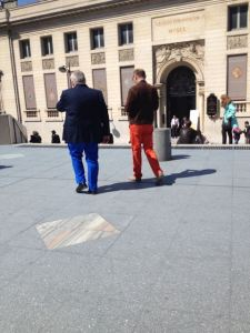 These two guys and their pants.  I wanted to photograph every interesting person I saw, but these two passed while my phone was already out.