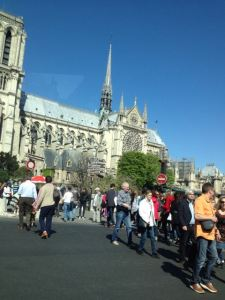 Driving by Notre Dame, thankful not to be stuck in those crowds!